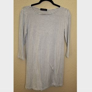 Hourglass Lilly Tshirt Dress Grey and White Stripe
